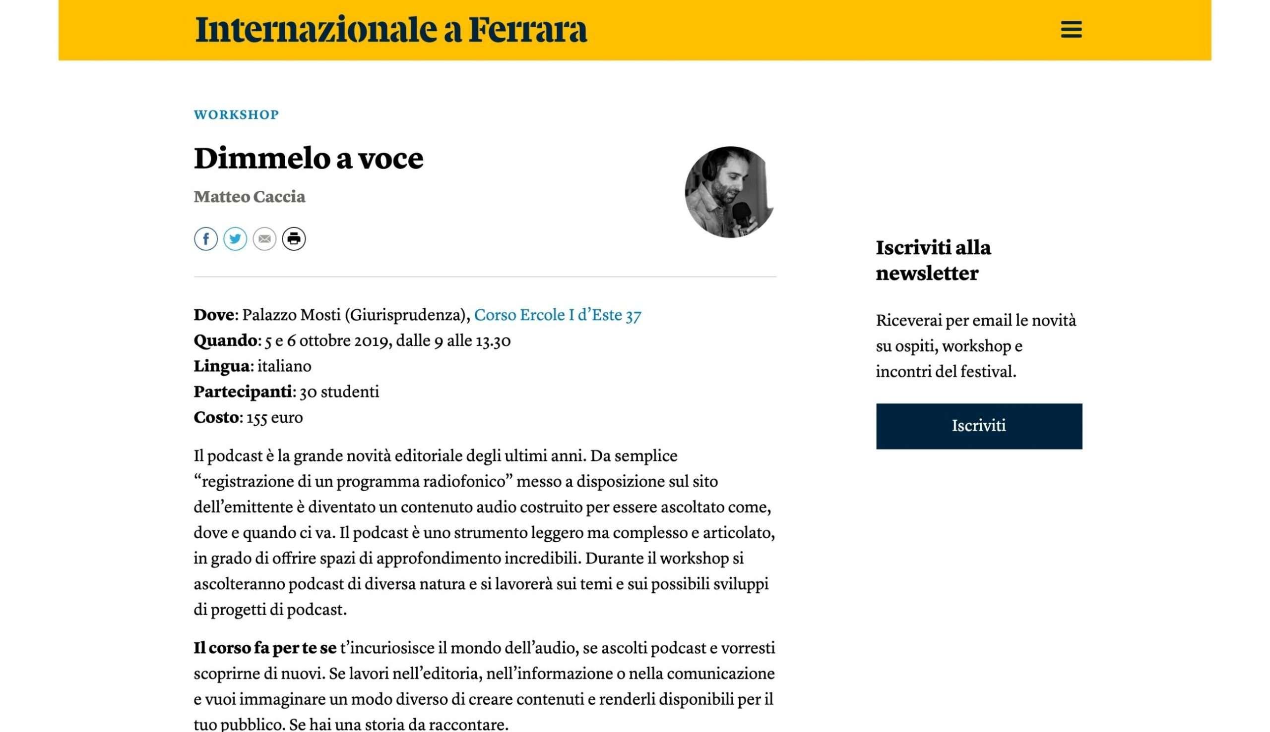 Internazionale a Ferrara - Dimmelo a voce - Matteo Caccia