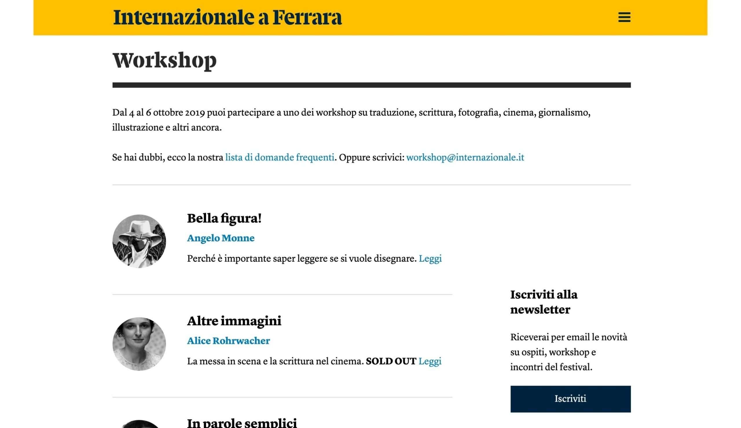 Internazionale a Ferrara - workshop