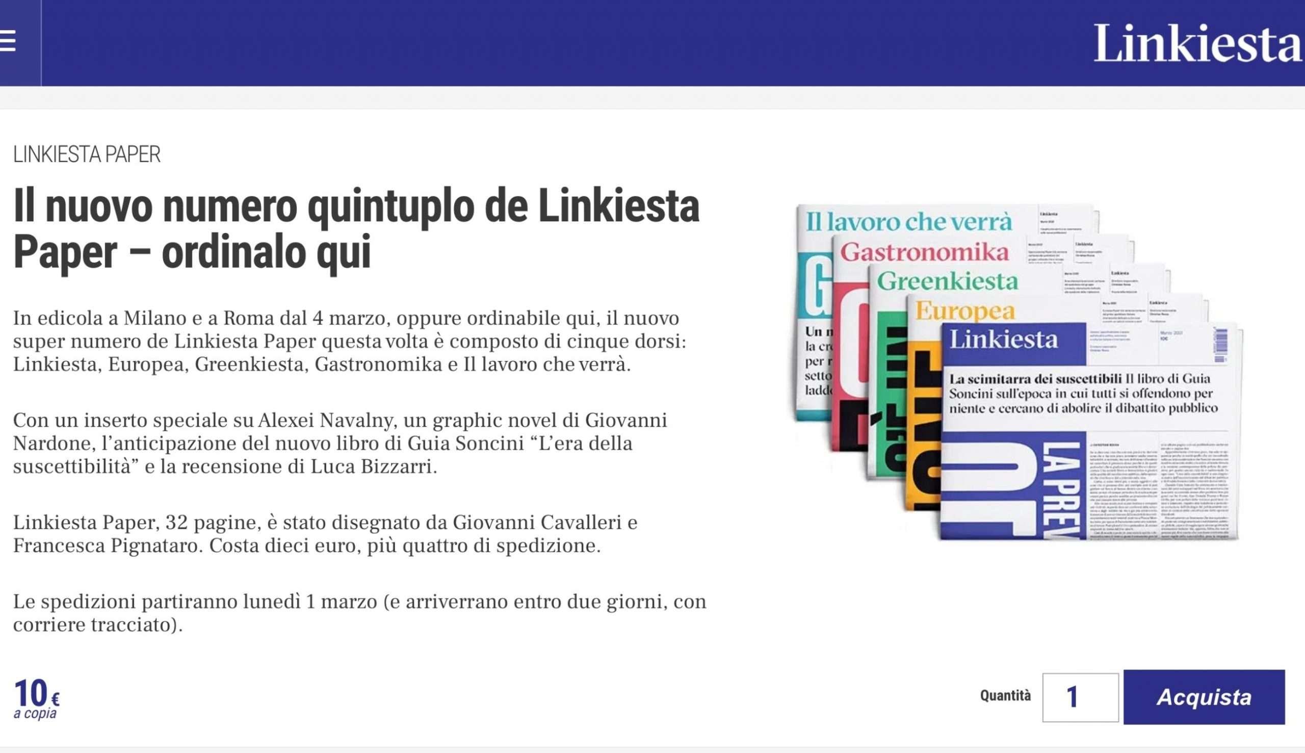 Linkiesta - modelli di business - Prodotti giornalistici Paper