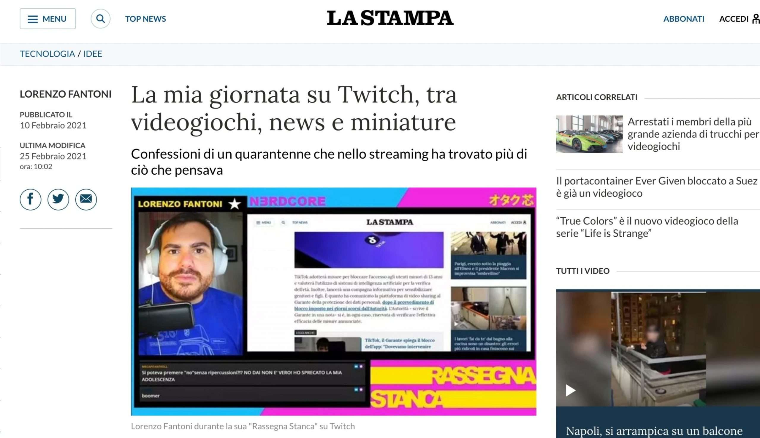Twitch - Fantoni su La Stampa