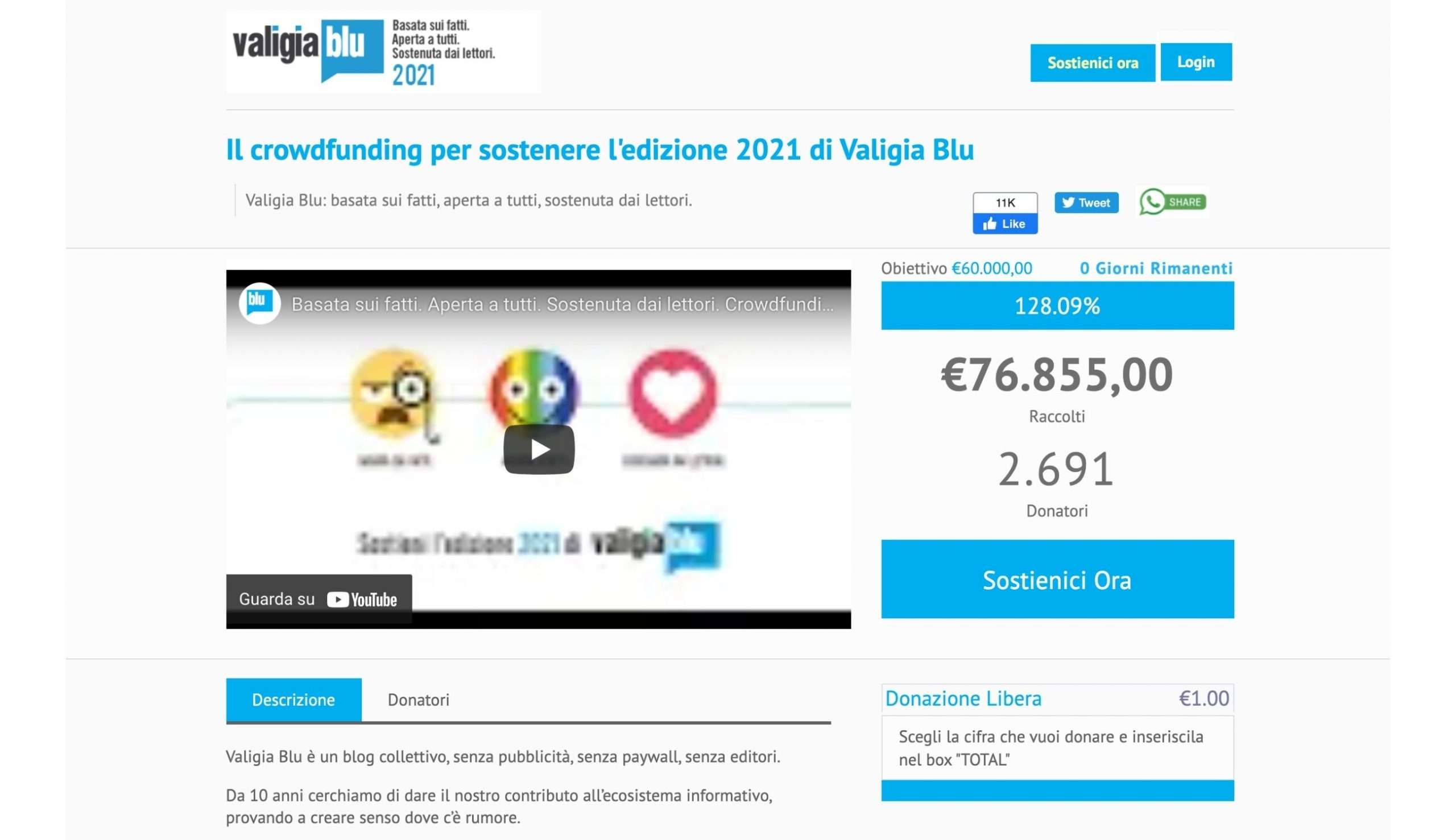 Valigia Blu - modelli di business - crowdfunding