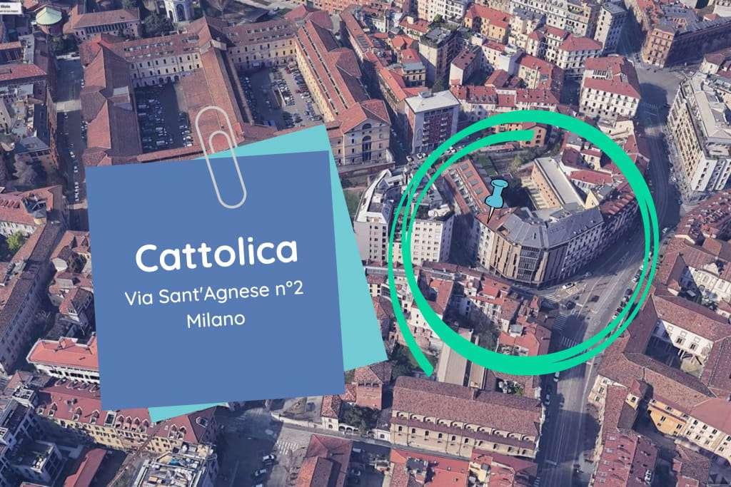 La scuola di giornalismo della Cattolica indicata nella mappa di Google Earth Pro